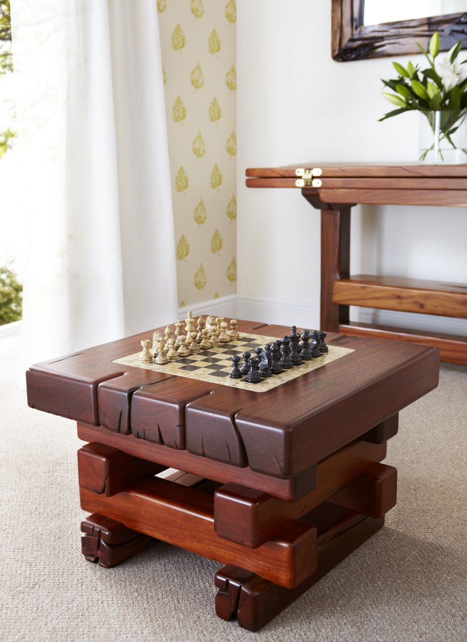 Hagar coffee table with a chess centre piece.  These table can be made to have any centre piece inserted.