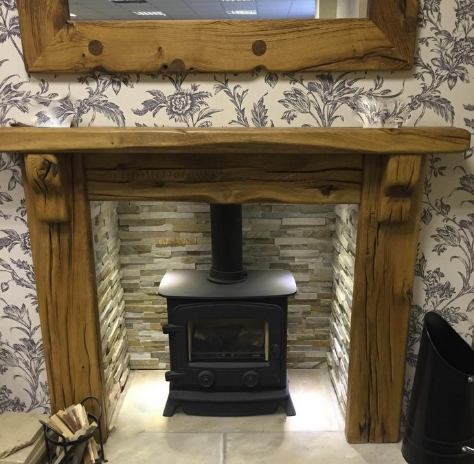 Britannia Fire Surround in Reclaimed Railway Sleepers