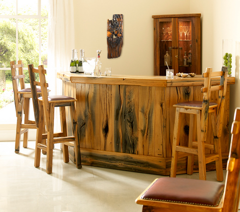 Bespoke Wine Bar in Reclaimed French Oak railway sleepers