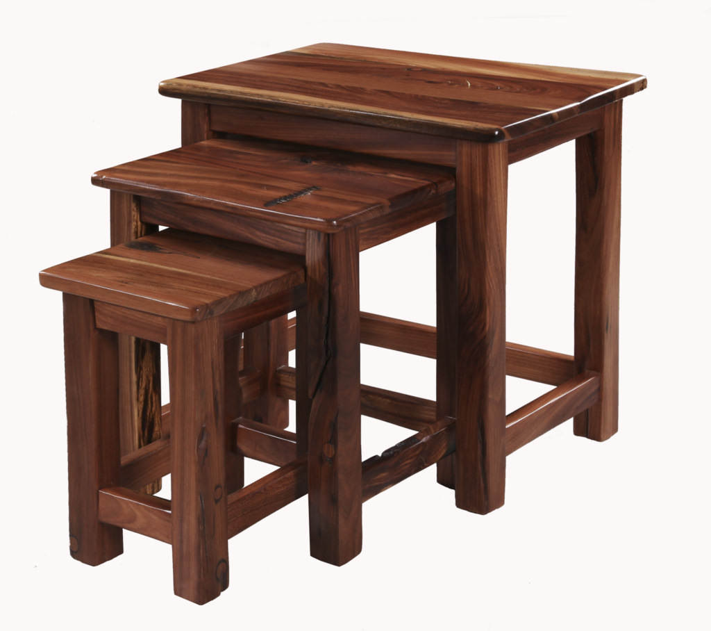 Three coffee tables that slot in between each other.  The small table can be used as a stool to stand on.