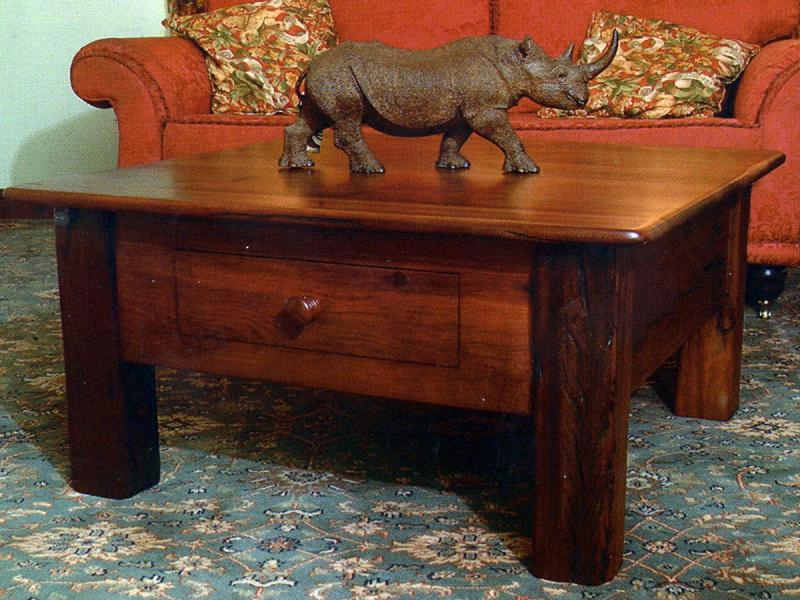 coffee table with push pull drawer