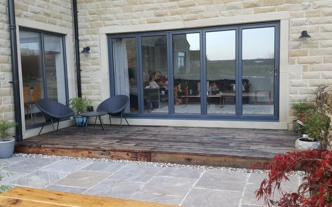 Railway sleeper patio,steps and raised beds