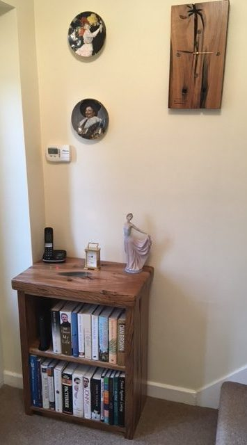 Bookcase & Clock in Natural French Oak with lacquer finish