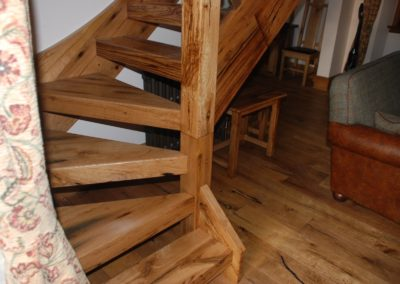 Reclaimed railway sleeper stair treads