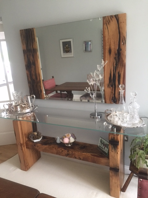 Glassic Console/Hall Table with matching Mirror