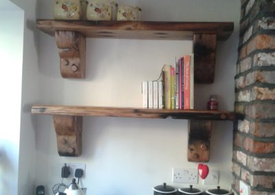 French oak shelves with lacquer finish