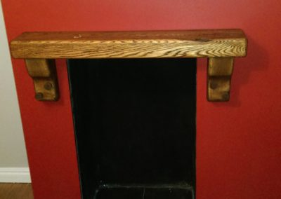 Oak beam with matching corbl supports