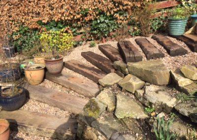 Garden steps from railway sleepers