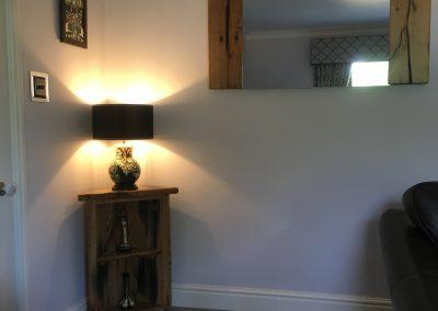 Corner Unit & mirror in sleeper timber